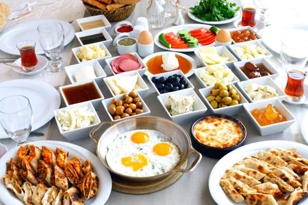 turkish breakfast onboard gulet